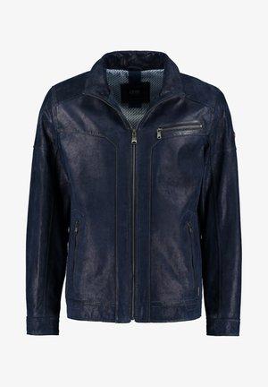 MIT REISSVERSCHLUSS - Leather jacket - dark blue