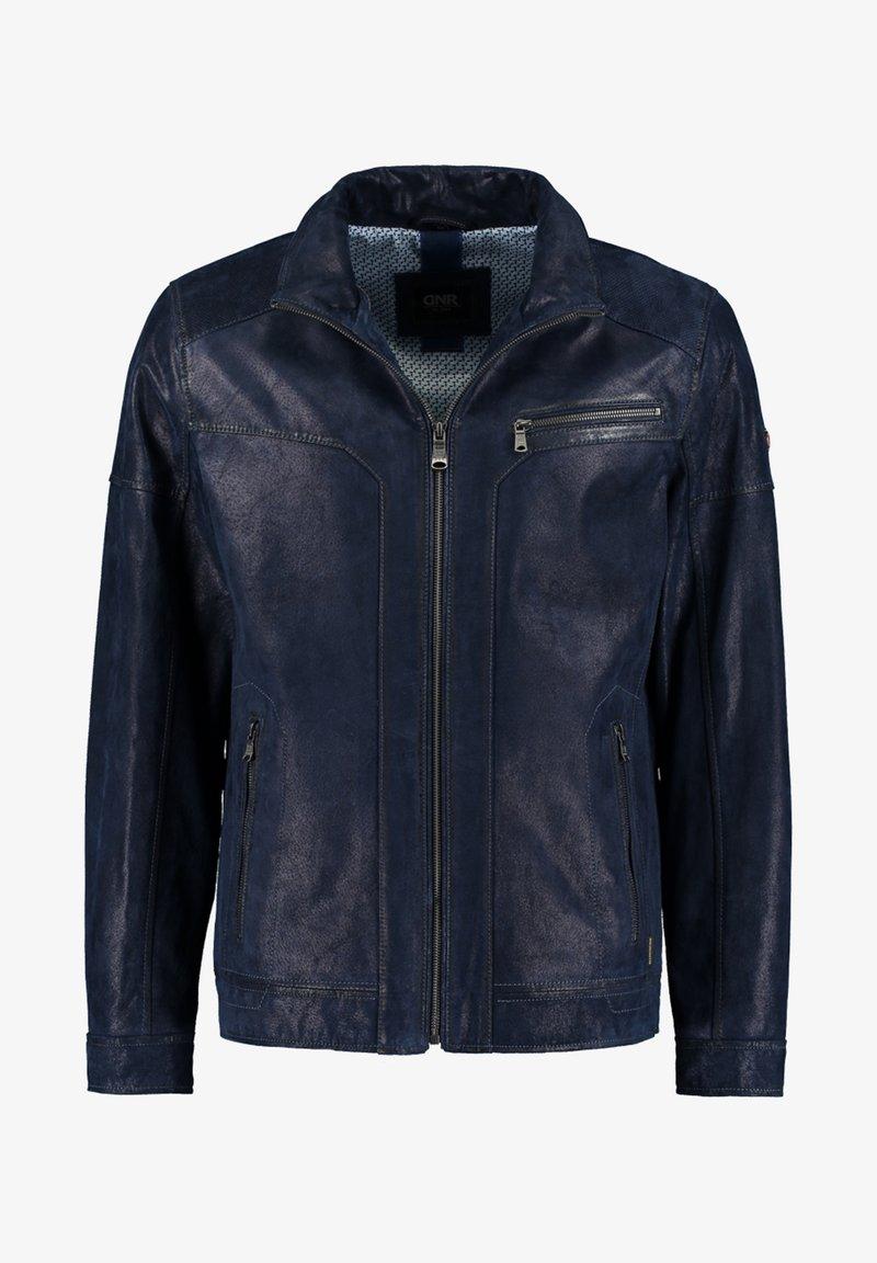 DNR Jackets - MIT REISSVERSCHLUSS - Leather jacket - dark blue