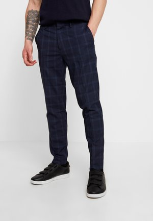 WINDOW PANE CHECK - Trousers - navy