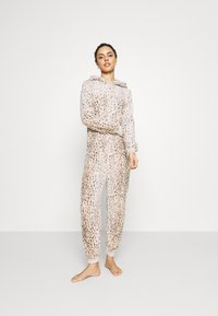 Loungeable - LEOPARD PRINT LUXURY ONESIE EMBROIDERED HOOD - Pyjamas - brown - 1
