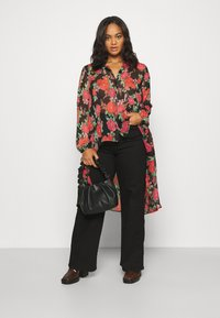 Simply Be - BLURRED FLORAL MAXI SHIRT - Skjorte - black - 1