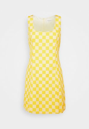 MINI DRESS WITH FRONT SIDE SPLITS - Korte jurk - yellow checkboard