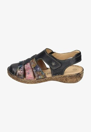 Wedge sandals - schwarz/bunt