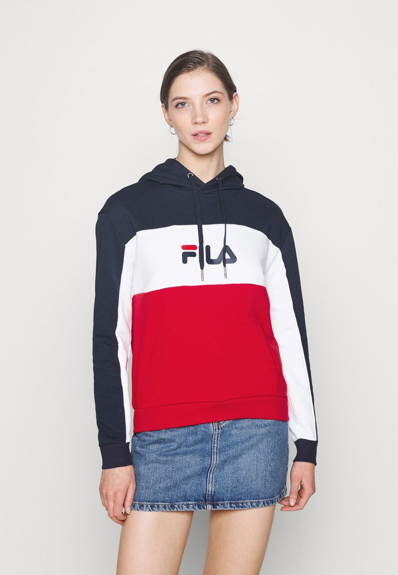 Fila - AQILA BLOCKED HOODY - Felpa - true red/black iris/bright white