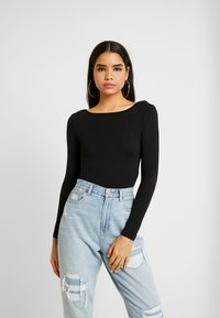 Missguided - LONG SLEEVE LOW BACK 2 PACK - Long sleeved top - black/ camel - 2