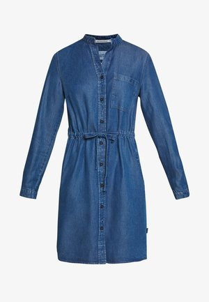 DRESS FEMININE PATCHED POCKET - Dongerikjole - february blue dress