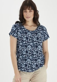 Fransa - Print T-shirt - navy blazer mix - 0