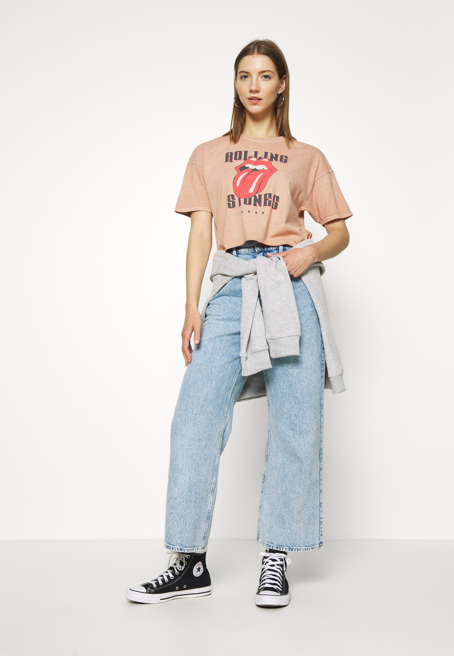 American Eagle Low Crop Tee Rolling Stones - T-shirts Med Print Rose/lyserosa