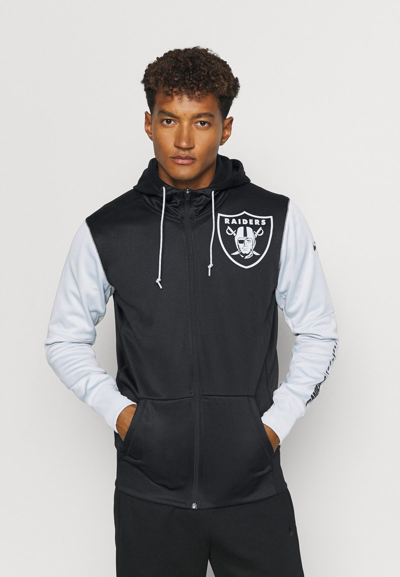 Nike Performance - NFL OAKLAND RAIDERS LEFT CHEST MASCOT FULL-ZIP THERMA HOODI - Klubové oblečení - black/field silver