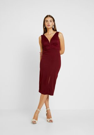 V NECK MIDI - Cocktailkjole - wine