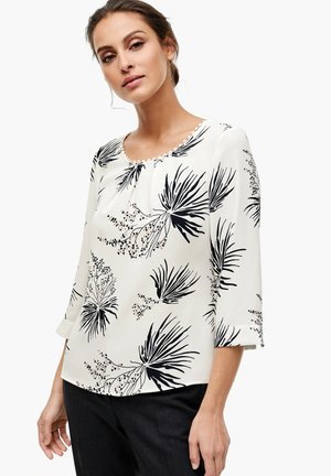 Blouse - cream leaves print