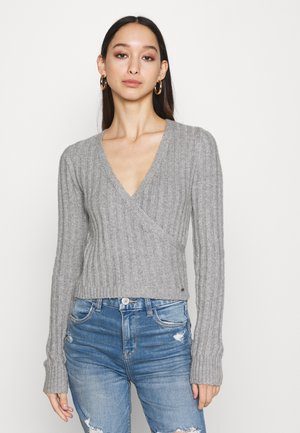 CROP WRAP FRONT - Sweter - medium grey