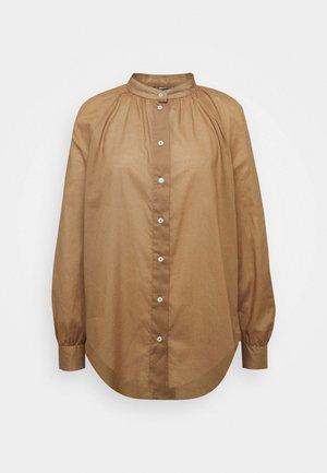 Button-down blouse - deep tobacco
