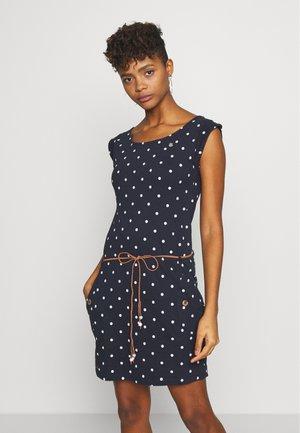 TAG DOTS - Jersey dress - navy