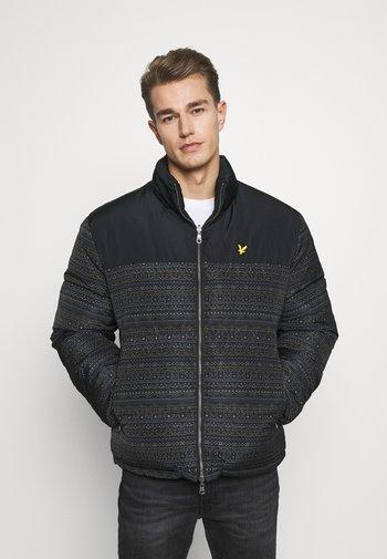 FAIR ISLE REVERSIBLE PUFFER JACKET - Winter jacket - jet black