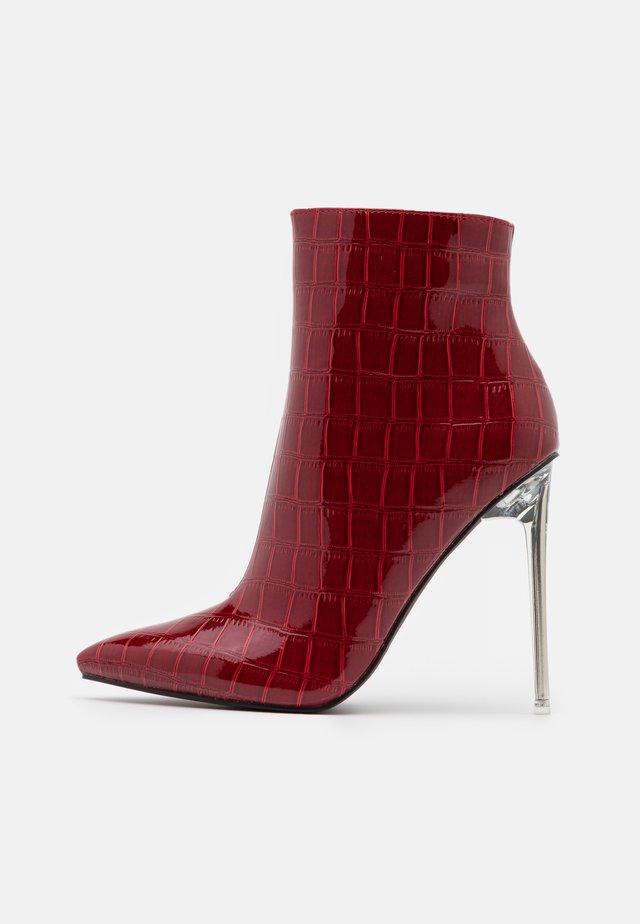 ROLENE - Kotníková obuv na vysokém podpatku - burgundy