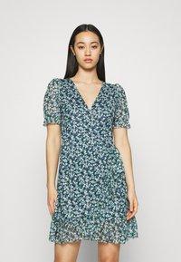 Vila - VIVOLETTE WRAP DRESS - Vestido informal - navy blazer/cottage - 0