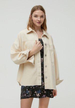 Button-down blouse - mottled beige
