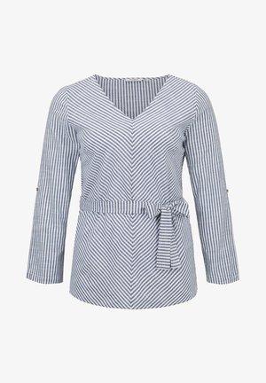 BELTED STRIPE BLOUSE - Blouse - navy white stripe