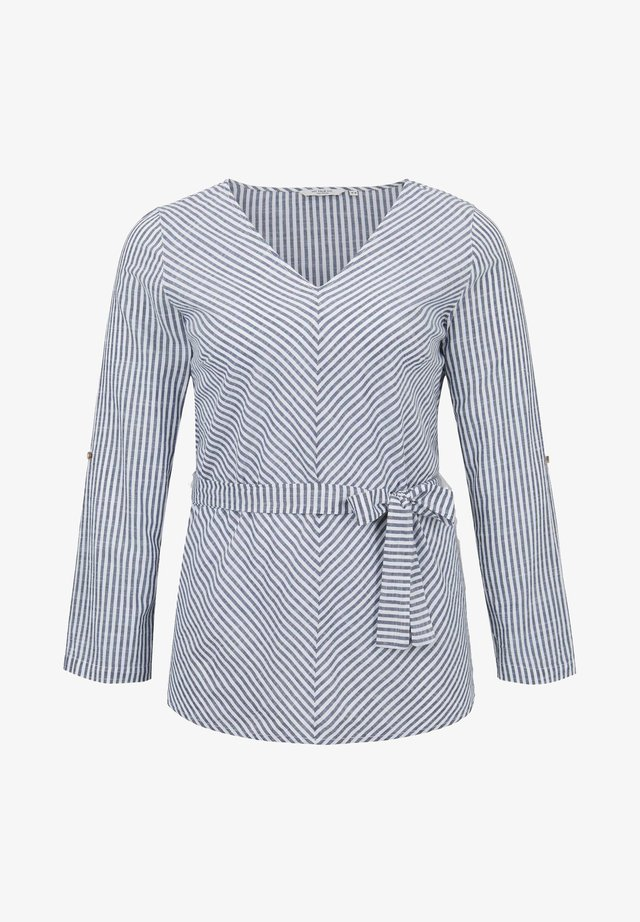 BELTED STRIPE BLOUSE - Blouse - navy white stripe