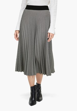 MIT HAHNENTRITTMUSTER - Pleated skirt - black check
