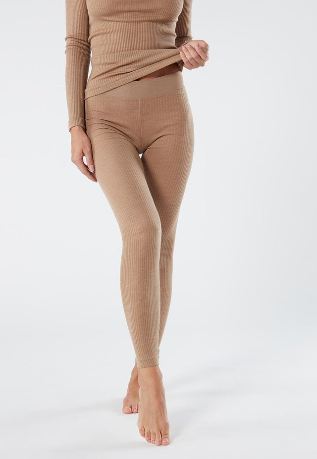 LEGGINGS AUS WOLLE UND SEIDE - Leggings - Stockings - hautfarbe (sahara) - 2328 - cammello