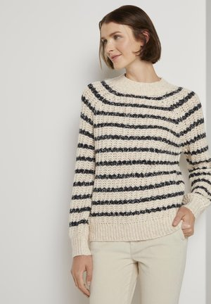 Pullover - big creme navy stripe