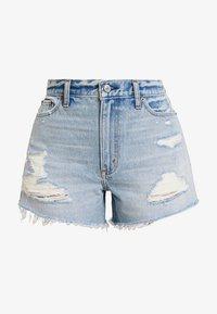 Abercrombie & Fitch - LIGHT DESTROY CUFF HIGH RISE - Jeans Shorts - stone blue denim - 4