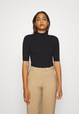 BASIC- elbow sleeve jumper - Stickad tröja - black