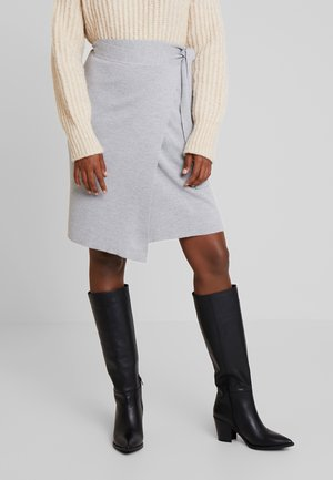 DOUBLE BREATED SKIRT - Pencil skirt - grey melange