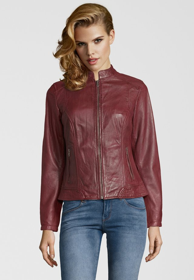 VICTORIA - Leather jacket - bordo