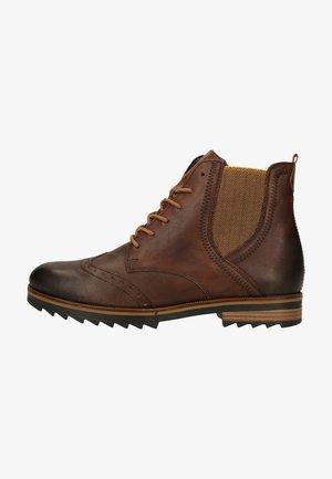 Lace-up ankle boots - mokka/mustard/
