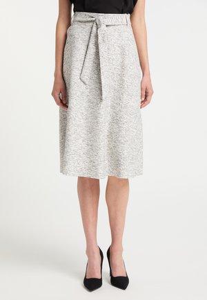 MIDIROCK - A-line skirt - schwarz weiss melange