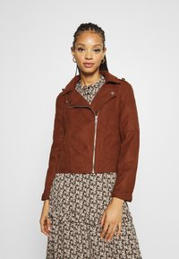 JDY - Faux leather jacket - cherry mahogany - 0