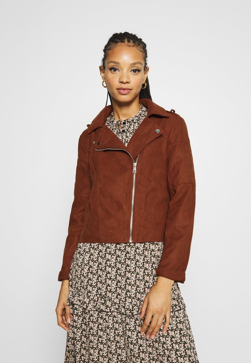 JDY - Faux leather jacket - cherry mahogany