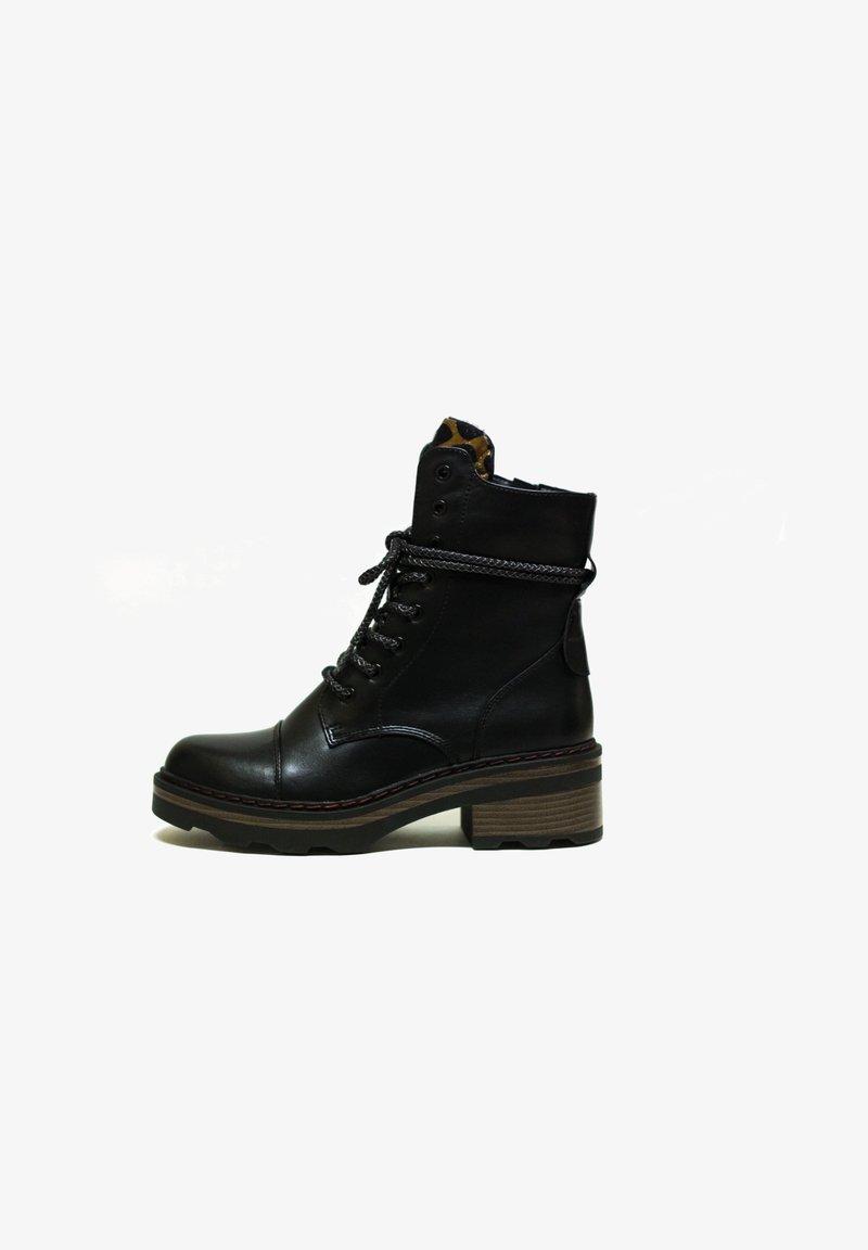 H.I.S - Šněrovací kotníkové boty - black
