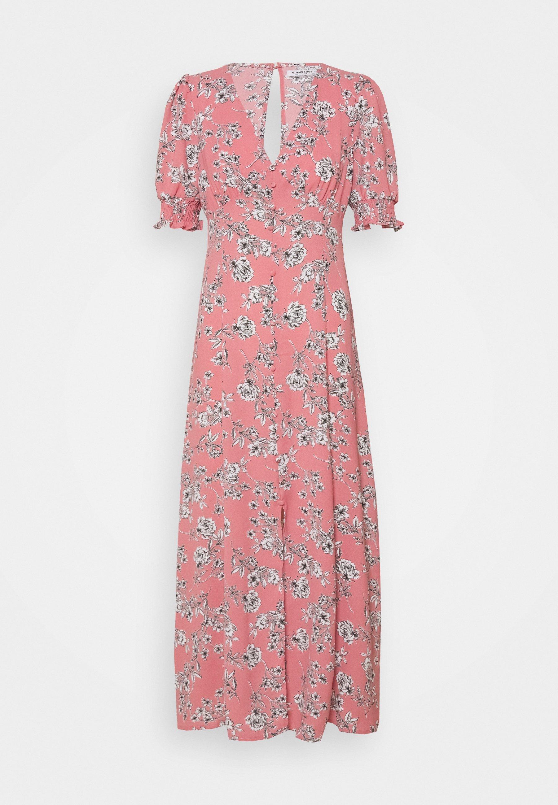 Donna PUFF SLEEVE PLUNGE FLARED DRESS - Vestito lungo