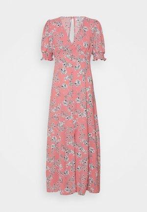 PUFF SLEEVE PLUNGE FLARED DRESS - Maxi dress - peach