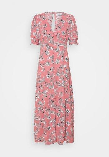 PUFF SLEEVE PLUNGE FLARED DRESS - Maxi šaty - peach