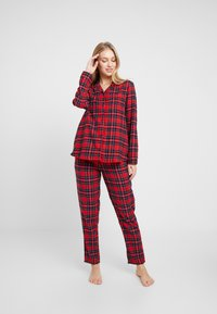 Benetton - DYED CHECK FRONT OPENING SET - Pigiama - red tartan - 1