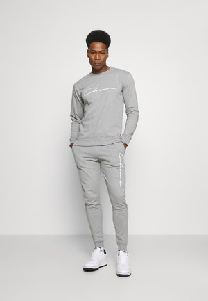 SCRIPT CREWNECK TRACKSUIT SET - Trainingsanzug - grey marl