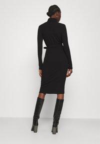 Dorothy Perkins - BRUSHED BODYCON TIE WAIST - Shift dress - black - 2