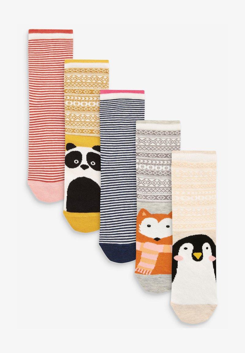 Next - FAIRISLE PATTERN ANIMAL FACES  FIVE PACK - Socks - red