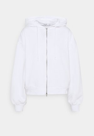 BALLOON SLEEVE ZIP UP HOODIE - Sudadera con cremallera - white