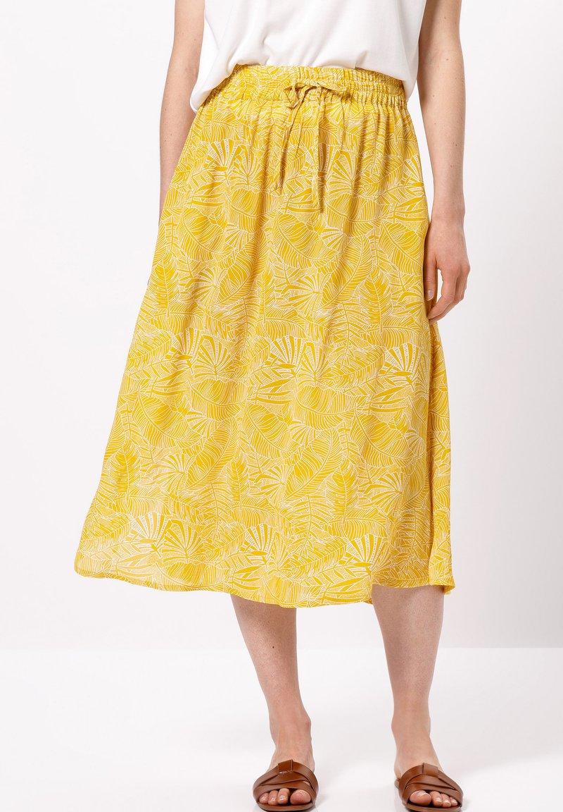 zero - MIT PRINT - A-line skirt - yellow curry