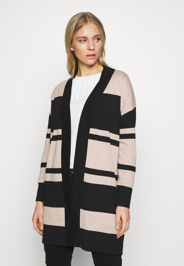 COLOUR BLOCK LL CARDI STONE - Cardigan - stone