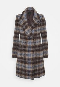 BRUSHED PLAID COAT - Classic coat - brown/blue