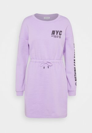 sweat mini drawstring waist dress - Day dress - lilac/black