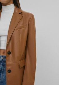 Bershka - Faux leather jacket - brown - 3