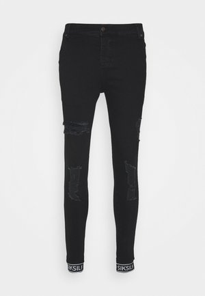 SKINNY CUFFED JEANS - Jeansy Skinny Fit - black